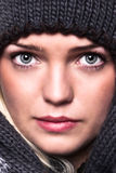 Cute Girl Winter Dressed. Closeup Of A Beautiful Blue Eyed Girl Dressed For Winter Stock Images
