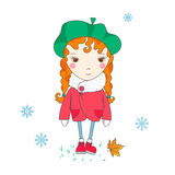 Cute girl, winter. Royalty Free Stock Photo