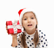 Cute girl wit a red box, christmas time Royalty Free Stock Photo