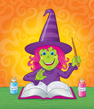Cute Girl Witch Casting A Magic Spell Royalty Free Stock Images