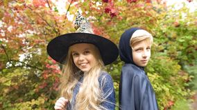 Cute girl in witch hat and boy in mantle posing for camera in forest, Halloween. Stock photo royalty free stock photography