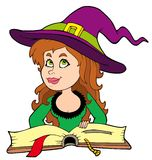 Cute girl witch reading book. Illustration Stock Photos