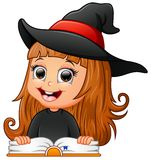 Cute girl witch reading book stock illustration