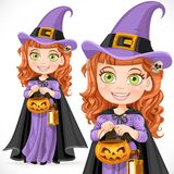 Cute girl witch Trick or Treat Stock Images