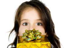 Cute Girl With A Gift Stock Photo