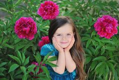 Free Cute Girl With Peonies Stock Images - 112238774