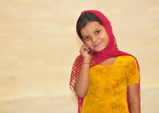 Cute Girl With Phone Royalty Free Stock Photo