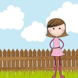 Cute girl with wooden fence Royalty Free Stock Photos