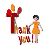 Cute girl with the words Thank You and balloons sticker, poster,banner, postcard Royalty Free Stock Photography