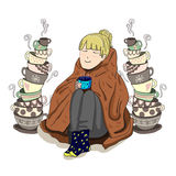 Cute girl wrapped in blanket with stacked tea cups, VECTOR illustration. Royalty Free Stock Photo