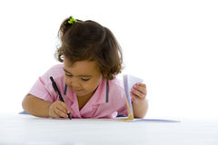 Cute girl writing Stock Photography