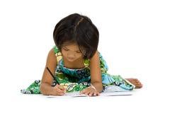 Cute Girl Writing Stock Photos