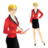 Cute girl writing in document. Women in glasses. Girl in formal suit Royalty Free Stock Photography