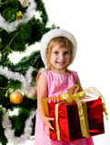 Cute girl with xmas gift Stock Photo