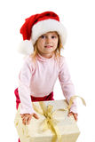 Cute girl with a xmas gift Stock Image