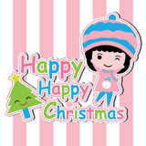 Cute girl and Xmas tree on pink striped background vector cartoon, Xmas postcard, wallpaper, and greeting card Royalty Free Stock Photography