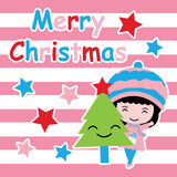Cute girl, Xmas tree and stars on pink striped background vector cartoon, Xmas postcard, wallpaper, and greeting card Stock Photo