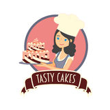 Cute girl or young woman baker holding a delicious chocolate cake. Vector character illustration. Stock Photography