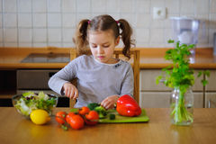 Cute girl of younger school age cuts vegetables and greens for salad. Salad bowl is already full, but little cook still cuts some broccoli. Kitchen is purely stock images