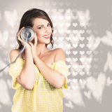 Cute girlfriend receiving message of love Royalty Free Stock Images
