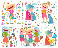 Cute Girlfriends Girlish Cartoon Colorful Collection stock illustration