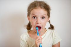 Cute girlie with pigtails diligently brushing his teeth. In a hand a blue tooth-brush. Girlie with astonishment looks in the camera stock photos