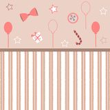 Cute Girlish Frame in pink with festive balloons, bow, gift, can. Dy and stars. Vector Illustration Stock Images