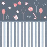 Cute Girlish Frame in pink with festive balloons, bow, gift, can. Dy and stars. Vector Illustration Royalty Free Stock Image