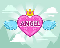 Cute girlish illustration with angel heart. And crown stock illustration
