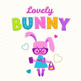 Cute girlish illustration. Funny fashion kids print, cute bunny girl with bag and phone, fancy girlish vector template for t shirt prints royalty free illustration