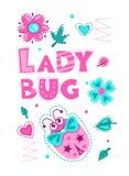 Cute girlish illustration with funny ladybug. Cute vector girlish illustration with funny ladybug. Pretty vector template for girls t shirt print design. Ladybug stock illustration