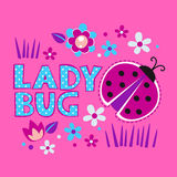 Cute girlish illustration with ladybug and flowers. Template for t-shirts design stock illustration