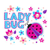 Cute girlish illustration with ladybug. And flowers, template for t-shirts design royalty free illustration