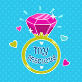 Cute girlish illustration. Template for girls t-shirt design or cards printing royalty free illustration