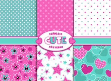 Cute girlish patterns. Set of cute girlish seamless pattern vector illustration