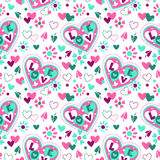 Cute girlish seamless pattern. With flowers and hearts on white background vector illustration