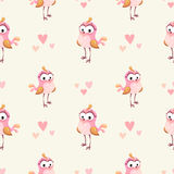 Cute girlish seamless pattern. With funny cartoon pink girl bird. Vector texture royalty free illustration