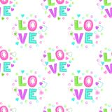 Cute girlish seamless pattern. With hearts and love word on white background. Vector texture royalty free illustration
