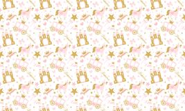 Cute girlish seamless pattern with royal carriage,castle and unicorn. stock illustration