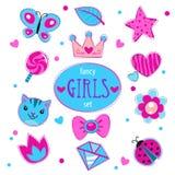 Cute girlish set. Fancy doodle elements for girls, on white vector illustration