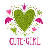 Cute girlish vector illustration Royalty Free Stock Images