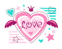 Cute girlish vector illustration. Love concept for girlish t shirt print. Lovely textile design template stock illustration