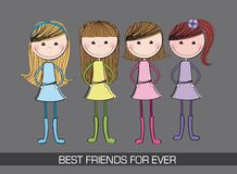 Cute girls. Four cute girls over gray background.  illustration Stock Image