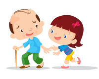 Cute girls aged care. Grandfather and granddaughter. Vector flat illustration Stock Image