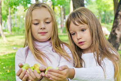 Cute girls with apples Stock Photography