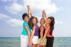 Cute girls on the beach Royalty Free Stock Photo