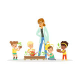 Cute girls and boys help their teacher to care for plants during botany lesson, preschool educational activities cartoon. Vector Illustration on a white royalty free illustration