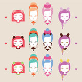 Cute girls with cat heads. Character collection. Vector illustration eps 10 stock illustration