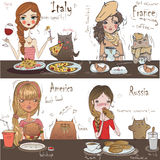Cute girls with cats stock illustration
