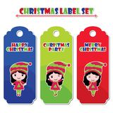 Cute girls with Christmas text  cartoon illustration for Christmas label set design Stock Photo